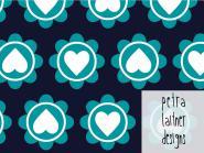 Retro hearts dunkelblau