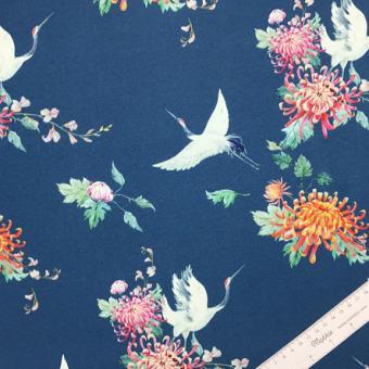 Sweat Kraniche & Blumen blau