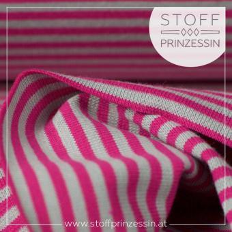 Ringelbündchen pink/grau