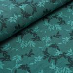 Relief-Jacquard Shiny Leaves smaragd