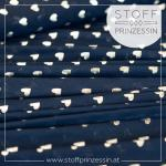 Stretchtüll Metallic Herzen blue