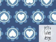 Retro hearts blau