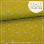 Viskosejersey Seashell Glitter mustard