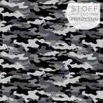 Webstoff Popeline Camouflage grau