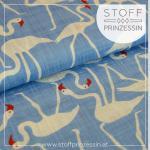 Cotton blend Flamingos blue