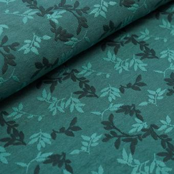 Relief-Jacquard Shiny Leaves smaragd