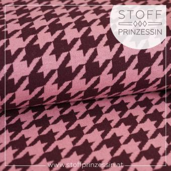 Houndstooth Mini bordeaux/rosa
