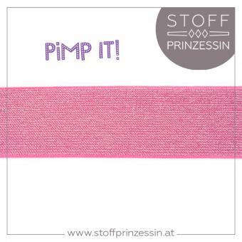 Gummiband Lurex breit pink