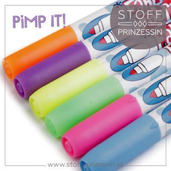 Textilstifte neon 6 Stück